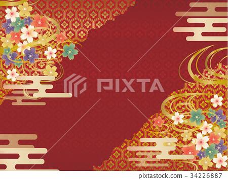 紅色和金日本樣式背景材料 34226887