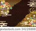 黑色和金色日本圖案背景材料 34226888