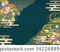 藍色和金日本樣式背景材料 34226889