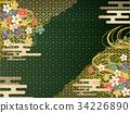 綠色和金日本樣式背景材料 34226890