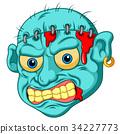 Zombie head cartoon 34227773