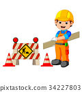 worker with construction sign 34227803