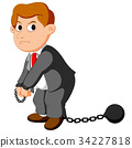 corruption businessman with ball and chain 34227818