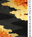background material, gold leaf, maple 34229735