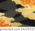 background material, gold leaf, maple 34229737