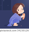 Cartoon girl eating bread at night. 34230126