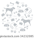 goods to care for dogs arranged in a circle 34232085