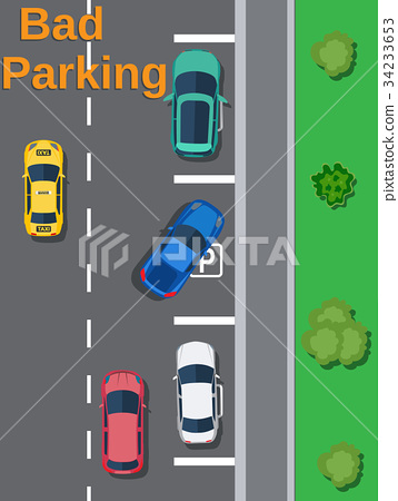 City parking lot with different cars. 34233653