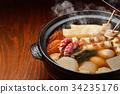 """注意)蒸汽是修飾合成。 """"標準菜Oden冬天在陶罐""""圖像。蘿蔔,雞蛋,紅薯,牛肉條紋。 34235176"""