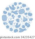 Set of autumn seasonal fruits and vegetables  34235427