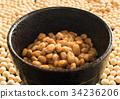 natto, fermented soybeans, soybean 34236206