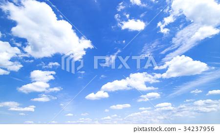 藍天天空雲彩秋天天空背景材料9月復制空間 34237956