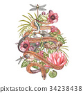 Set of hand drawn watercolor botanical 34238438