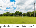 Front view of football goals. 34238676
