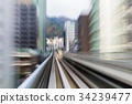 Motion blurred moving train to city downtown 34239477