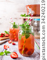 Homemade delicious strawberry compote in glass jar 34240219