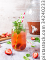 Glass jar with homemade strawberry compote 34240233