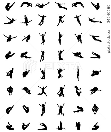 silhouettes of jumping  34240569
