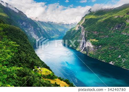 Breathtaking view of Sunnylvsfjorden fjord 34240780