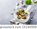 Snails with garlic herbs butter 34240999