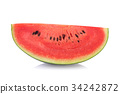 Slice of watermelon on white background 34242872