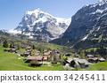 산, 잔설, 녹지 않은 눈 34245411