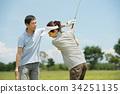 高爾夫中間夫婦體育高爾夫球場圖像 34251135