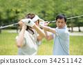 高爾夫中間夫婦體育高爾夫球場圖像 34251142