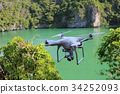 Drone camera flying in the green lagoon 34252093