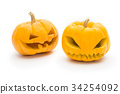 pumpkin white background ,halloween  isolated. 34254092