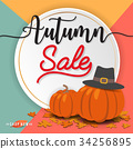 Autumn sale banner background design 34256895
