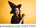 萬聖節女巫服裝年輕女子 34257497
