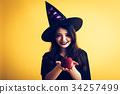 萬聖節女巫服裝年輕女子 34257499