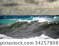tsunami tropical hurricane on the sea 34257808