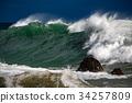 tsunami tropical hurricane on the sea 34257809