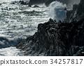 tsunami tropical hurricane on the sea 34257817
