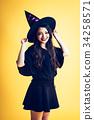 有巫婆cosplay的萬聖夜女孩 34258571