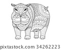 Hippo for coloring book 34262223