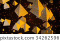 Abstract background with golden pyramids. Digital 34262596