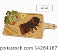 illustration of grilled spare ribs . 34264167