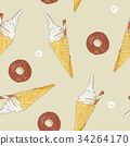 ice-cream cone and donut seamless pattern vector. 34264170