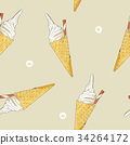 ice-cream cone seamless pattern vector. 34264172