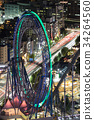 tokyo dome city, ferris wheel, lit up 34264560