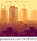 Construction site with crane and building. 34265972