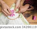 มือของผู้หญิงที่ปัก 34266119
