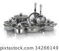 Pots and pans. Set of  kitchen utensils 34266149