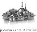 Pots and pans. Set of  kitchen utensils 34266149