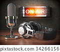 Vintage microphone and headphones signboard on air 34266156