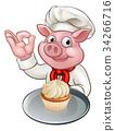 Pig Baker Chef Cartoon Character Mascot 34266716