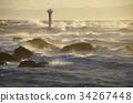 등대, 바다, 거센 파도 34267448